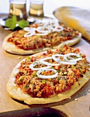 Turkish pizza with topping of soya granules