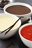 Sweet sauces: strawberry puree, custard, chocolate sauce
