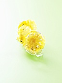 Glazed pineapple ravioli with basil vanilla cream