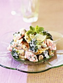Colourful plate of salad with shrimps and broccoli