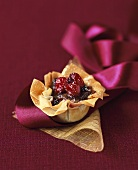 Fruit compote in a wafer shell
