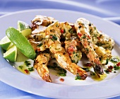 Barbecued scampi with herbs