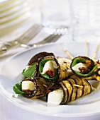 Barbecued aubergine rolls with cheese filling