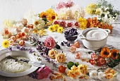 An assortment of flowers for sugaring