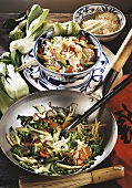 Vegetables cooked in the wok and fried rice