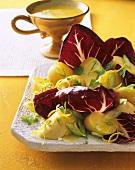 Potato and radicchio salad with spicy lemon sauce