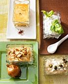 Assorted dips (onion, honey-mustard, feta, tuna)