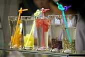 Colourful drinks at a market