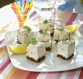 Canapés with fish mousse for garden party