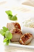 Caramelised loin of pork with sesame