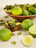 Limes and lime leaves
