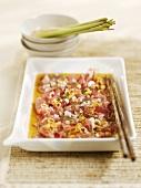 Marinated tuna in lemon grass vinaigrette