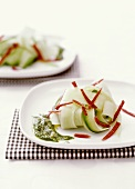 Vegetable slices with pesto