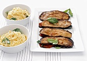 Stuffed aubergine slices and spaghettini