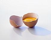 A brown egg, broken open