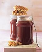 Rose hip and orange jam in jam jars
