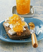 Wholemeal roll with Camembert and pear jam