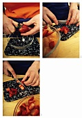 Erdbeeren putzen und kleinschneiden