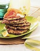 Potato and herb pancakes with wild salmon