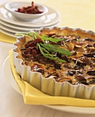 Mushroom quiche with dried tomatoes