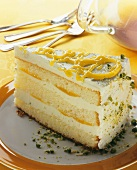 A piece of buttercream cake