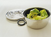 Lettuce leaves in a salad spinner