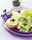 Warm goat's cheese on baguette, salad and pistachio pesto