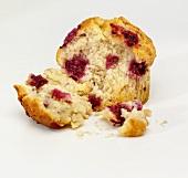 Raspberry muffin, broken open