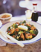 Green vegetables with shrimps