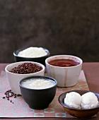 Regular rice, red rice and rice congee (rice porridge)