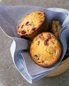 Redcurrant muffins in a fabric napkin
