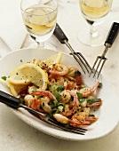 Fried shrimp tails on a platter