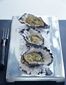 Oysters in their shells with vinaigrette