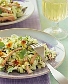 Cabbage salad with strips of Leberkaese