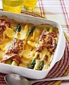Asparagus and potato bake with ham