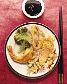 Shrimp and vegetables in tempura batter