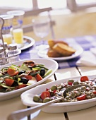 Specialities from S. of France: salade niçoise and olive puree