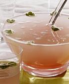 Rhubarb punch white wine and Sekt