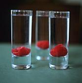Vodka with raspberries in schnapps glasses