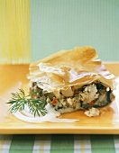 Fish and vegetable pie with filo pastry crust
