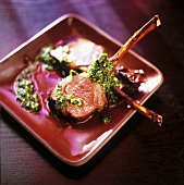 Lamb chops with herb paste