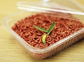 Opened plastic packaging of minced beef