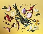 Herb oil with rosemary, garlic and chili