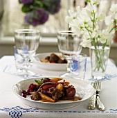 Mushroom and vegetable stew on summery table