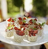 Strawberries on fresh cheese crème with nuts