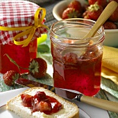 Strawberry jam in preserving jar