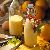 Home-made orange advocaat with vanilla