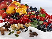 Assorted fruit, spices and sugar