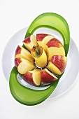 Apple in an apple cutter and corer