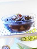 Marinade in glass bowl in fridge